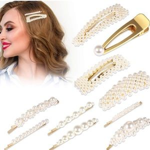 Pearl Barrettes Hair Clips Artificial Pearls